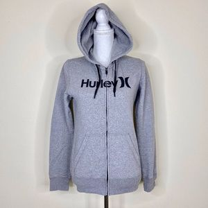 Hurley Light Grey Hoodie Zip Up Front Pocket